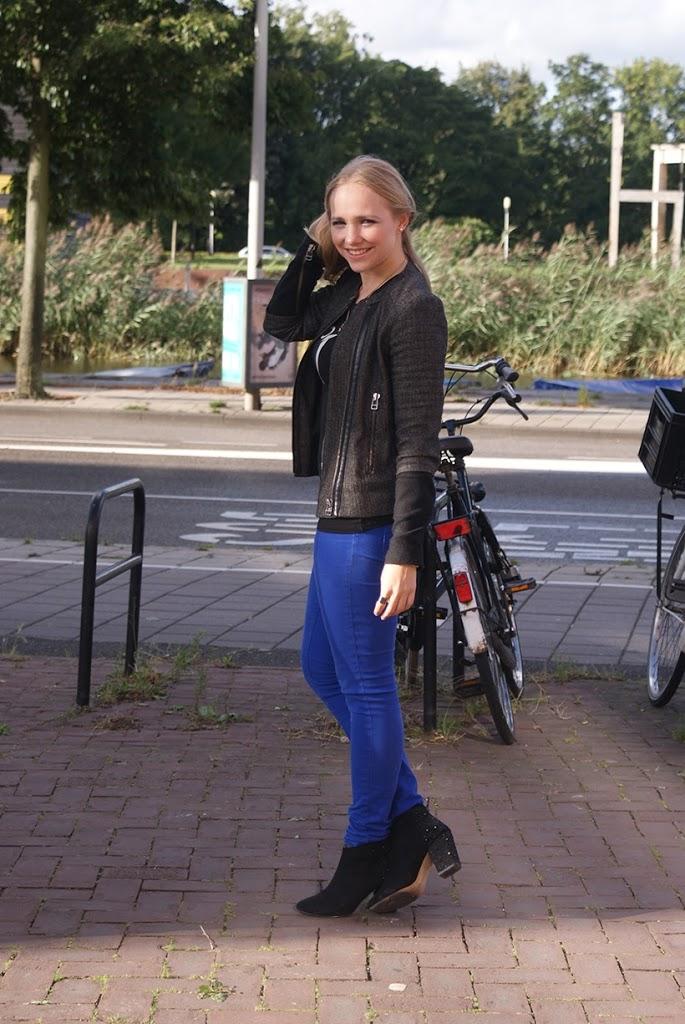 MANGO boucle biker jacket Sarandipity outfit pop blue color casual
