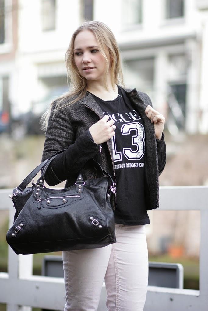 MANGO boucle biker jacket Sarandipity pastels look balenciaga itbag soft classy rock chick