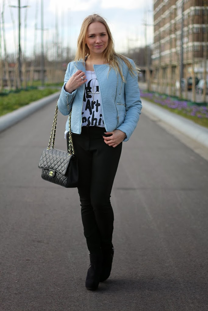 chanel outfit ootd fashion blog sarandipity personal style baby blue pastel zara