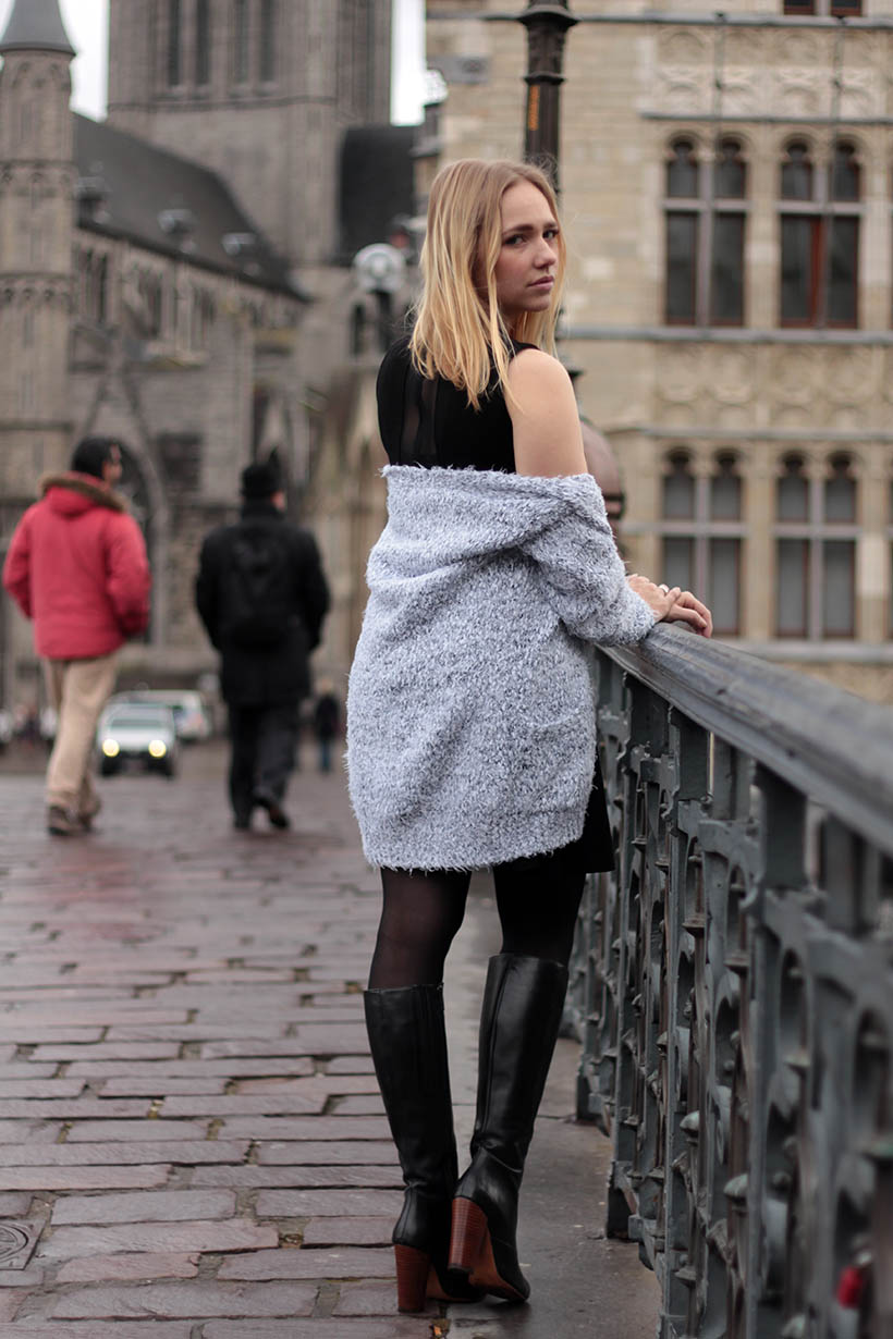Little Black Designer Dress outfit ootd dutch fashion blogger french connection ghent gent belgium8