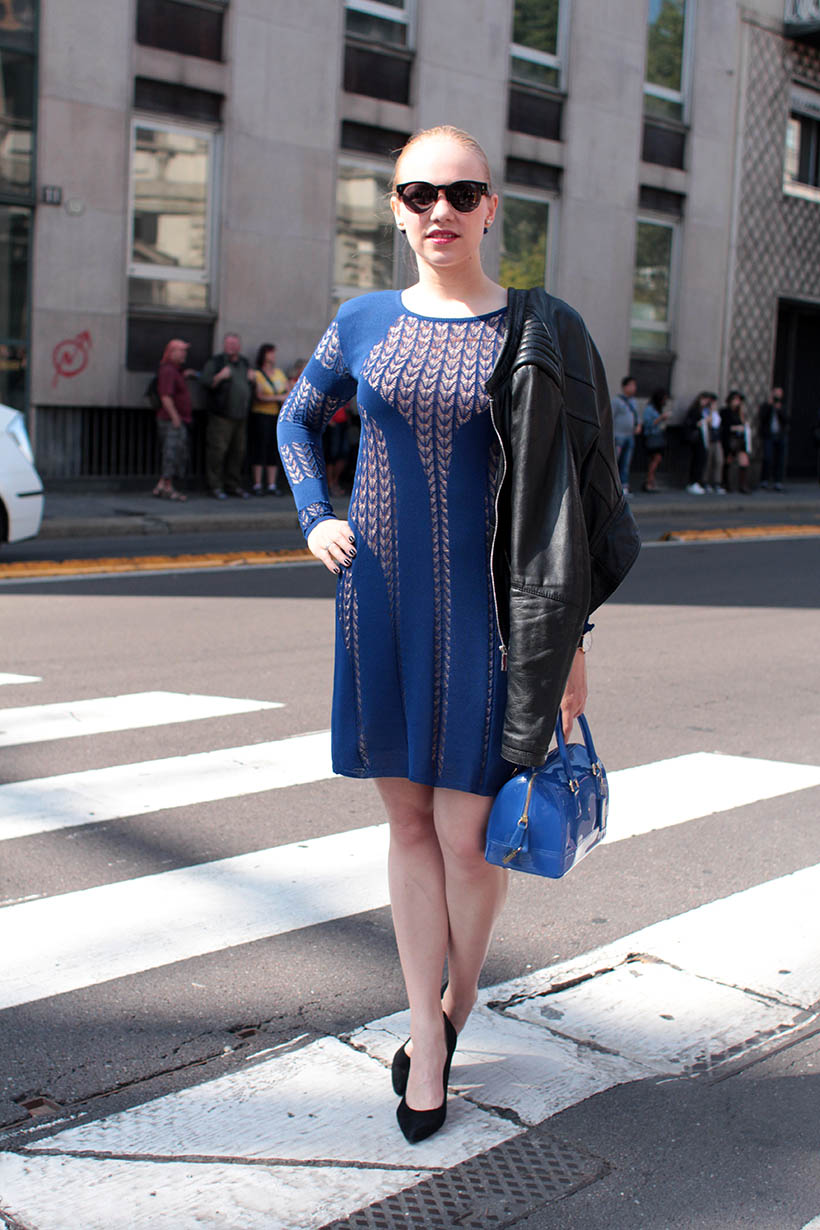 house dagmar blue dress outfit ootd dutch fashion blogger sarandaadriana milan fashion week streetstyle2