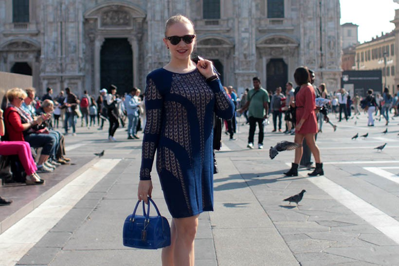 house dagmar blue dress outfit ootd dutch fashion blogger sarandaadriana milan fashion week streetstyle4