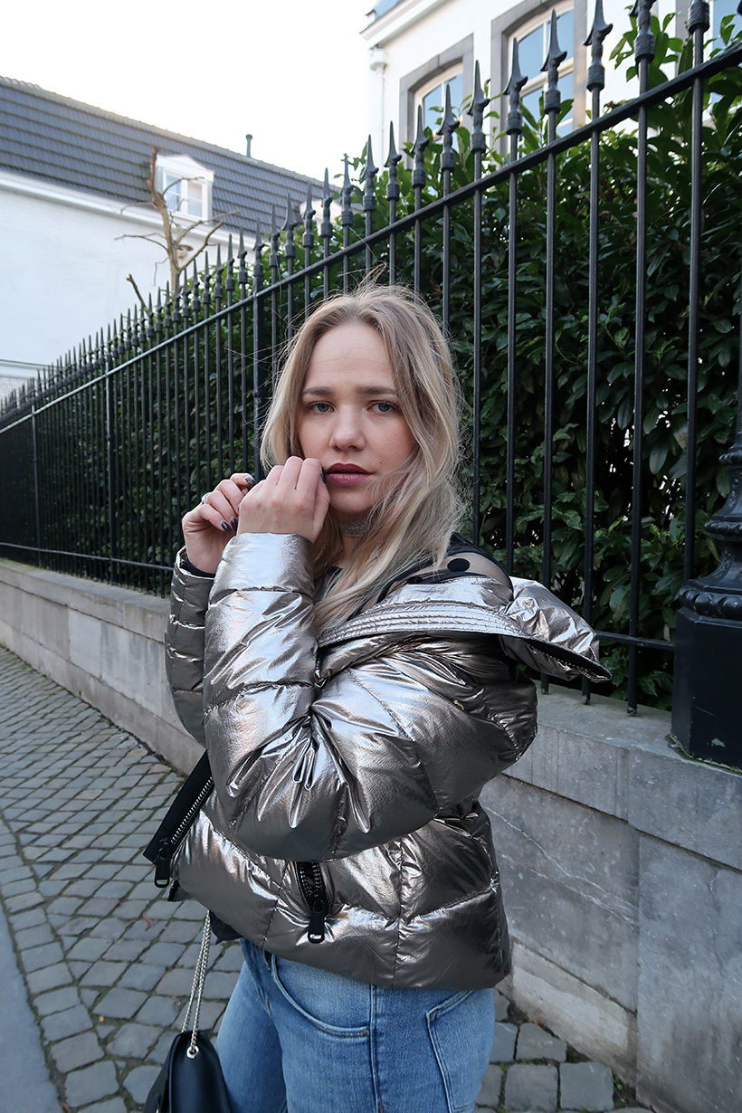 Shiny and new outfit ootd goldbergh jacket topshop boots