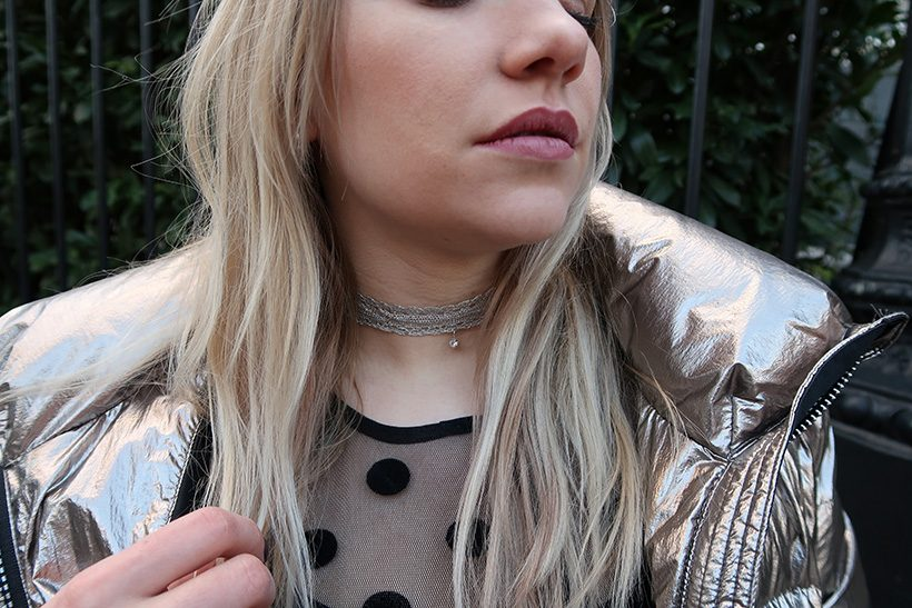 Silver choker styled by jara silver jacket Goldbergh