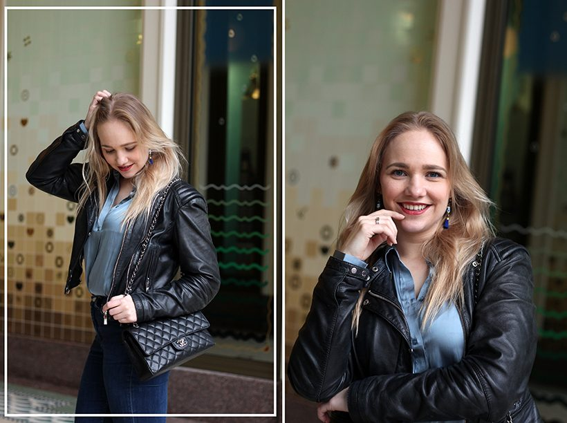 Satin blue blouse outfit chanel ootd amsterdam sarandaadriana3