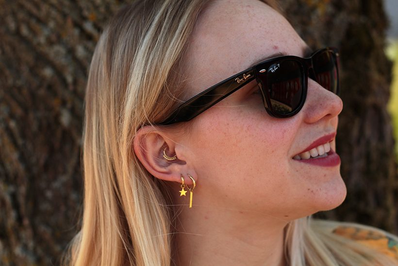 Daith piercing gold ear party blogger Ray-Ban wayfarer fashion blogger SarandaAdriana